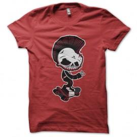 Shirt Skater skull rouge pour homme et femme