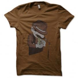 Shirt mario bros l'artiste jouant de l'harmonica marron pour homme et femme
