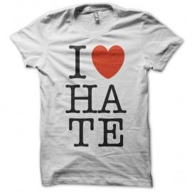 Shirt I love HATE blanc pour homme et femme