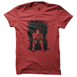 Shirt iron man parodie game of thrones rouge pour homme et femme