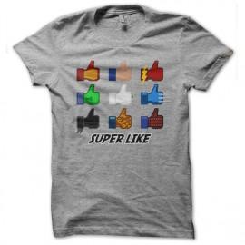 Shirt Super Like facebook parodie comics gris pour homme et femme