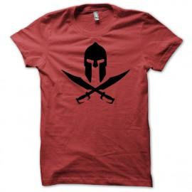 Shirt casque sparte skull pirate 300 rouge pour homme et femme