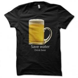 Shirt Save water drink beer noir pour homme et femme