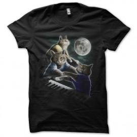 Shirt les chats pianistes noir pour homme et femme