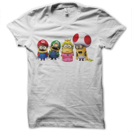 Shirt minion mario blanc pour homme et femme