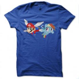 Shirt mario et petit poney bleu pour homme et femme