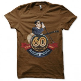 Shirt elvis 60 years of rock marron pour homme et femme