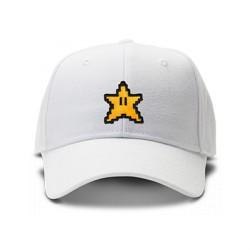 casquette MARIO BROS STARS logo brodée de couleur blanche