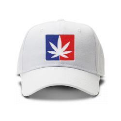 casquette Cannabis brod'e de couleur blanche