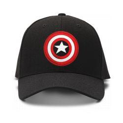 casquette Captain American noir brod'e de couleur noire