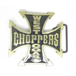 Boucle de ceinture biker chopper west coast acier chrome