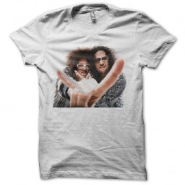Shirt LMFAO Sky Blu and Red Foo blanc pour homme et femme