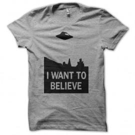 Shirt X-files i want to believe noir/gris pour homme et femme