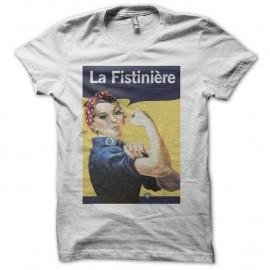 Shirt la fistiniere humour fist blanc pour homme et femme