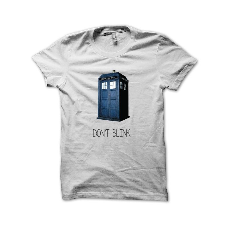 T shirt Doctor Who Don't blink en blanc
